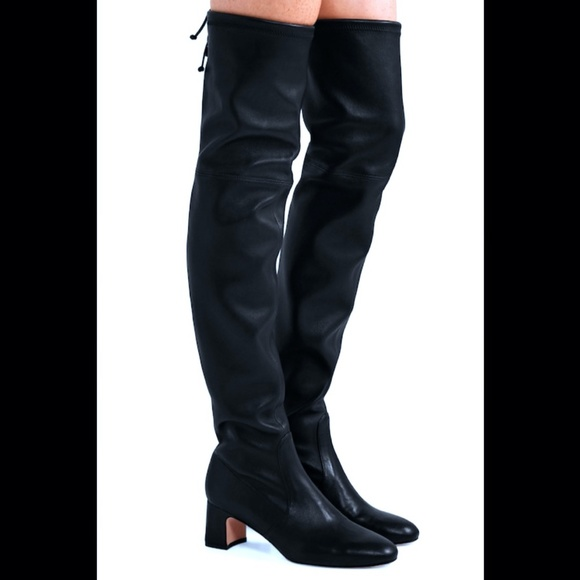 Stuart Weitzman Black Leather Over Knee Boot 8